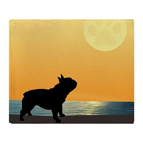 CafePress French Bulldog Surfside Sunset Soft Fleece Throw Blanket, 50