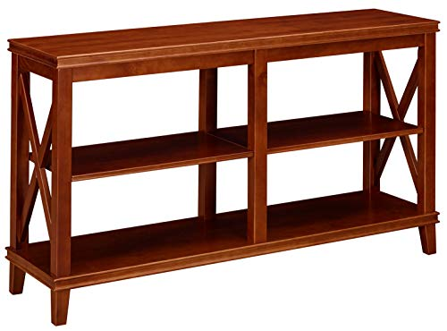 Ravenna Home Wheeler Farmhouse 3-Shelf Wood Storage TV Console Table Stand, 54 W, Dark Cherry