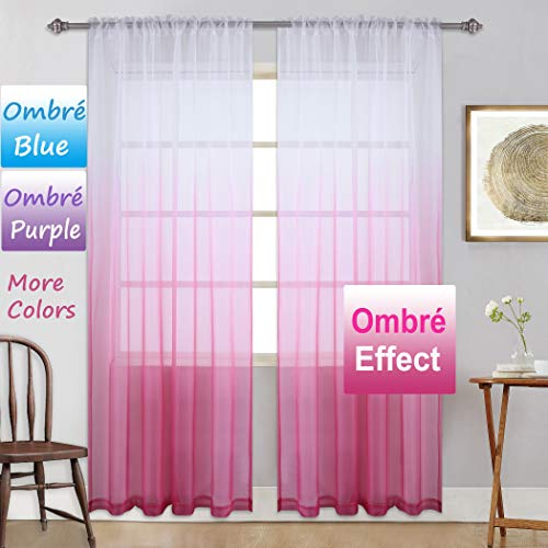- Pink Curtains Ombre Sheer Curtains Teenage Girls Bedroom Gradient Window Panel for Princess Toddler/Baby Kids Room/Nursery/Living Room/Closet Sheer Backdrop Curtain Set Party Drape,95 inch