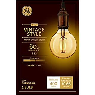 GE Lighting 42183 Clear Finish Light Bulb Dimmable LED Vintage Style G30 5.5 (60-Watt Replacement), 400-Lumen Medium Base, 1-Pack, Amber Glass