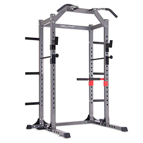 Body Power Deluxe Rack Cage with Accessories, Attachments, Safety Bars, and Built-in Floor-Mount Anchors PBC5380
