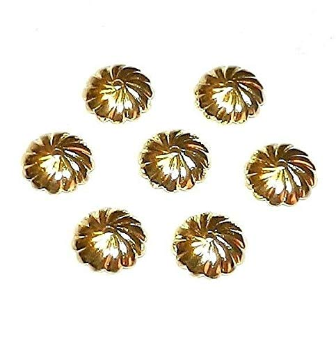 (Gold 10mm Scalloped Round Fluted Swirl Design Brass Bead Caps 20pc #ID-7631)