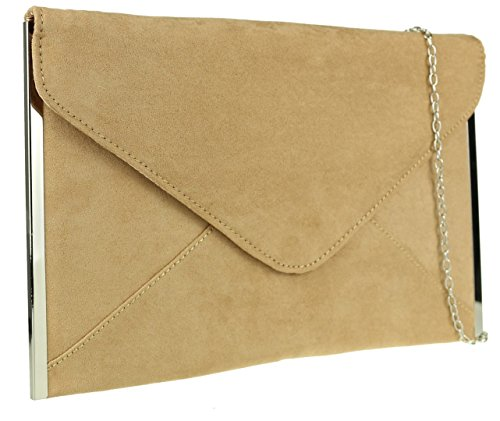 Design Frame Clutch Tan Bag Suede Faux HandBags Sides Prom Girly Envelope Wedding Elegant Plain qw8ASvgT