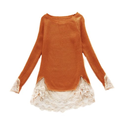 Zacoo Women's Lace Long Sweater Vintage
