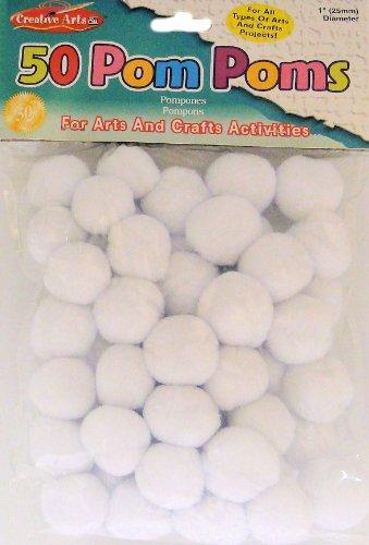 Charles Leonard Pom-Poms, 1 Inch, White, 50/Bag (69535)