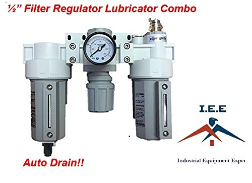 """3 Stages Compressed Air Filter Regulator Lubricator Combo 1/2"""" NPT Auto Drain"""
