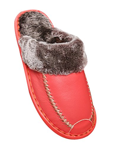 Indoor Womens Cattior Leather Slippers Outdoor Slippers Furry Fur Pink Lined wUxCx
