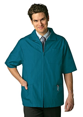 Burnt Tiger (Adar Universal Men's Zippered Short Sleeve Jacket (Available in 7 colors) - 607 - Tiger Green - XS)