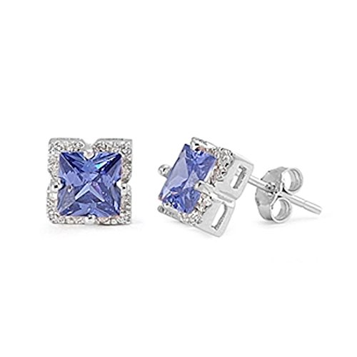 Halo Men Women Stud Post Earrings Princess Cut Simulated Blue Tanzanite Round CZ 925 Sterling Silver