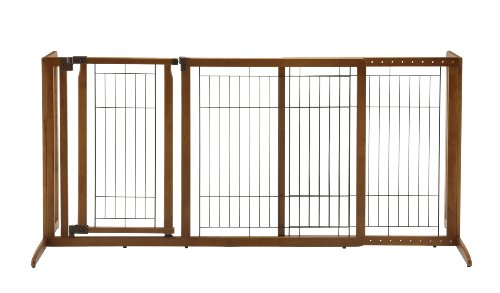 Richell Deluxe Freestanding Pet Gate with Door, -