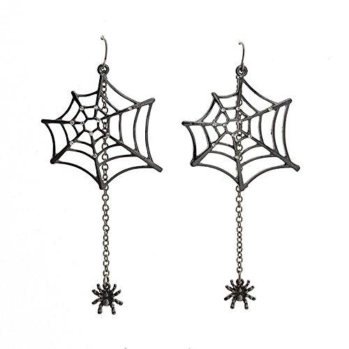 Katara Decor - Spider Web Earrings Rhinestone (Dangling Spider Web)