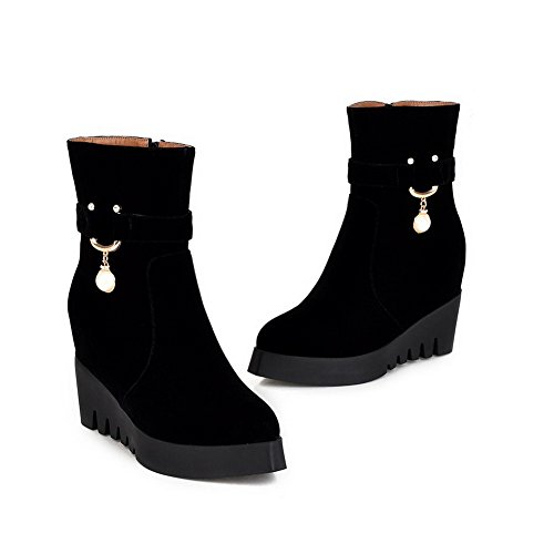 AmoonyFashion Womens Round-Toe Closed-Toe High-Heels Boots With Wedge and Slipping Sole Black 5t7BcLx