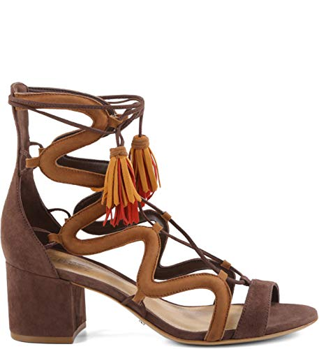 Schutz Ryder Cocoa Brown Suede Mid Heel Lace-Up Sandal Tassel Laces (Cocoa Brown,9.5) (8.5, Cocoa Brown)