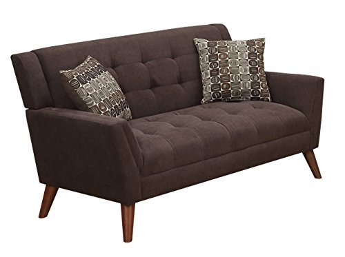 Furniture World Mid Century Love Seat, Chocolate - Durable poly-chenille Tufted Cushions; mid-century modern Styling Matching accent pillows - sofas-couches, living-room-furniture, living-room - 41d15qIiGWL -