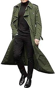 Puimentiua Mens Long Breasted Trench Coat Casual Lapel Men's Long Sleeve Windbreaker Overcoat Jacket.(S-