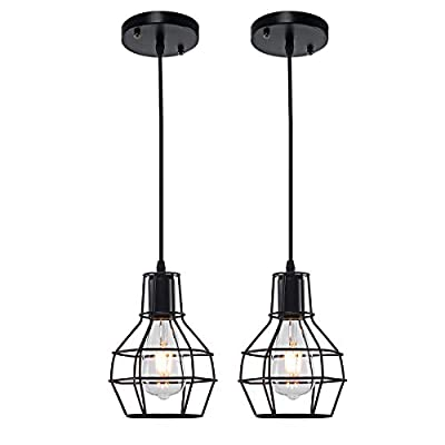 LightingPro 2 Pack Mini Pendant Lights with Matte Black Metal Cage Shape, Adjustable Vintage Industrial Wire Cage Hanging Lamps Fixture for Kitchen Loft Bar Dining Room, Farmhouse Style