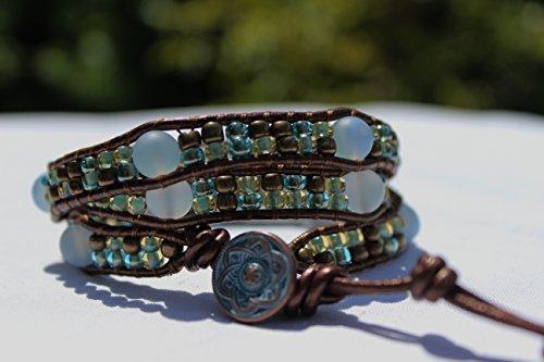 Ice Blue Agate and Seed Bead Triple Wrap Leather Bracelet, Greek Copper Turquoise Patina Button, Beach Bracelet, Bohemian Jewelry, Handmade Bracelet