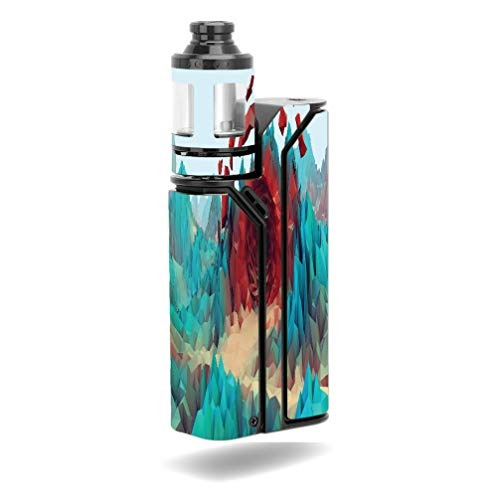 Decal Sticker Skin WRAP - Wismec Reuleaux RX75 Kit - Red Crystal Cave Low Poly Design
