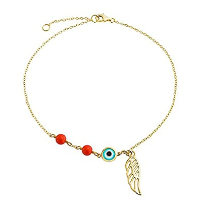New Gold Plated Synthetic Coral Evil Eye Anklet Angel Wing 9in for cheap
