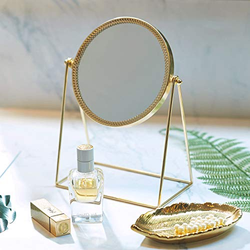 - PuTwo Makeup Mirror Single Sided Vanity Mirror Vintage 360° Rotation Metal Cosmetic Mirror Round Beauty Mirror Handmade Make Up Mirror for Dresser Vanity Table Desk - Champagne Gold