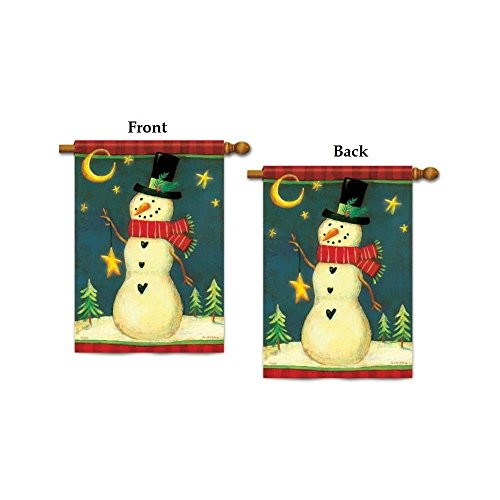 (Twilight Snowman Winter House Flag)