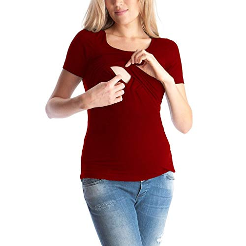 Women's Short Sleeve Round-Collar Pure-Color Lactation Blouse Top - Cross Over, Nurisng, Maternity, Wrap, Casual Red
