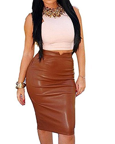 Romacci Pencil Skirts for Women PU Leather Midi Bodycon Skirt Below Knee Length Casual Slim Clubwear(5 Colors,S-L) Coffee