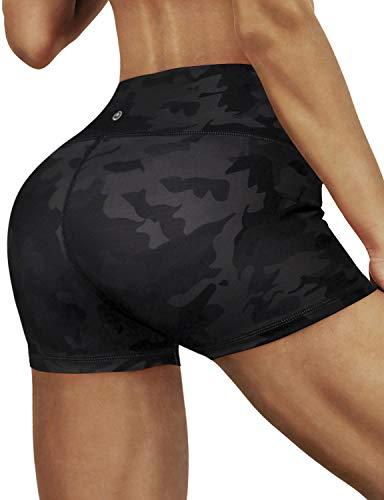 BUBBLELIME High Compression Yoga Shorts Running Shorts Tummy Control Moisture Wicking UPF30+, Bwhb004 Blackcamo(2.5