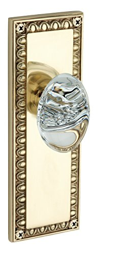 Knoxx Hardware Egg and Dart Plate with Oval Crystal Knob, Double Dummy, Polished Brass