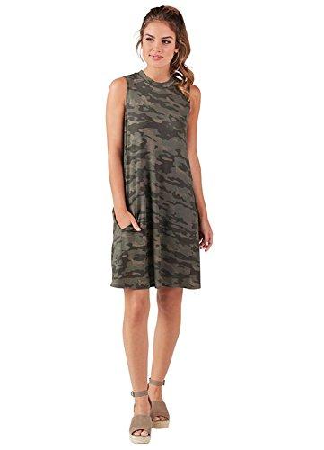 Mud Pie Fashion - Mud Pie Alissa Rayon Spandex Swing Dress In Camo Womens Apparel (Large)
