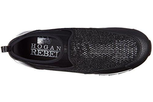 Hogan Rebel Damen Leder Slip On Slipper Sneakers r261 Schwarz