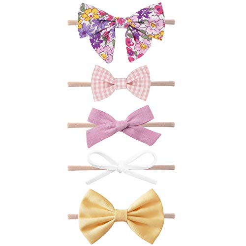 Baby Girl Headbands and Bows, Newborn Infant Toddler Nylon Hairbands Hair Accessories by LittleJoJo ()