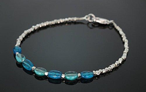 (JP_Beads Blue Apatite Beaded Bracelet with Silver PlatedKaren Hill Tribe Beads 4x7mm)