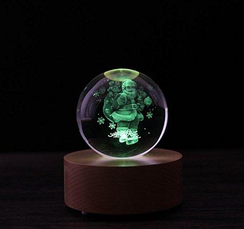 Poorhappy Geburtstags-Valentinsgruß-Geschenk Fernbedienung Blautooth Music Box mit LED Leuchten Kristallkugel (Santa Claus)