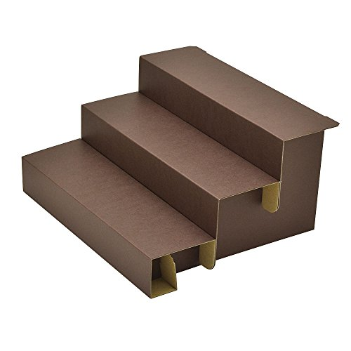 TAKA Knockdown Cardboard Risers 3 Step Display for Jewelry Brown W 11.58 in x D 10.04 in x H 5.91 in ( Made in Japan ) 44-5802