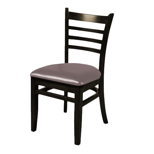Oak Street WC101BLK-ESP  Solid Black Wood Frame Ladder Back Dining Chair with Espresso Vinyl Seat, 32.75