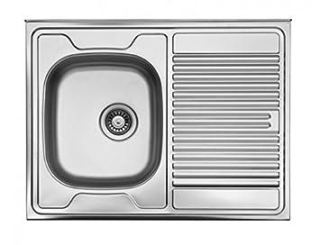 Spüle 80 Cm.Auflagespüle Edelstahl Edelstahlspüle 80cm X 60cm Mit Ablage Spüle Waschbecken Küchenspüle
