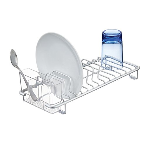 Drainer Plate (mDesign Rustproof Aluminum Compact Kitchen Dish Drainer for Drying Plates, Glasses, Silverware - Silver/Clear)