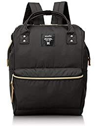 Japan Anello Backpack Unisex LARGE BLACK Rucksack Waterproof Canvas Bag Campus School