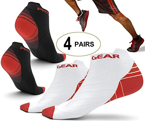 4 Pairs - Physix Gear Sport Running Socks with Plantar Fasciitis Support for Men & Women - Best Compression Socks - No Show Low Cut Ankle Socks Boost Stamina Circulation & Recovery (RED BLK S/M)