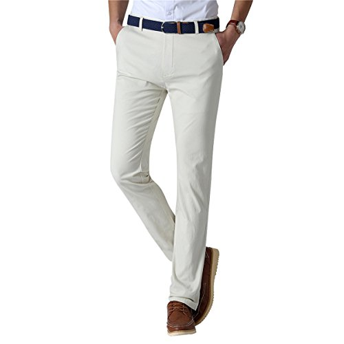 Mens Slim Fit Flat-Front Pant Stretch Elastic Dress Trousers