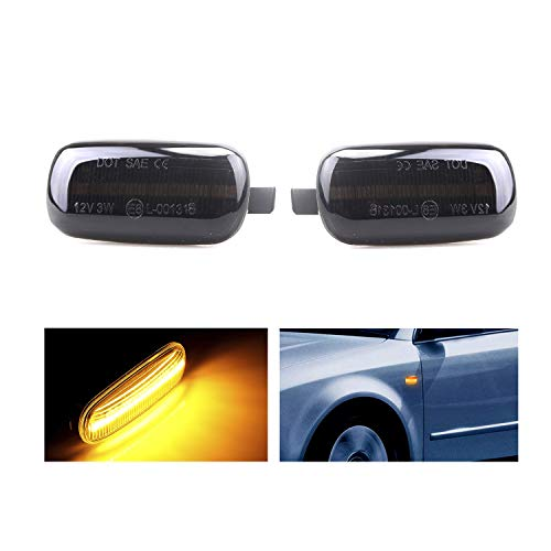 Mallofusa 2pcs Led Dynamic Side Marker Turn Signal Light Sequential Blinker Indicator Light for Audi A3 S3 8P A4 S4 RS4 B6 B7 B8 A6 S6 RS6 C5 C7