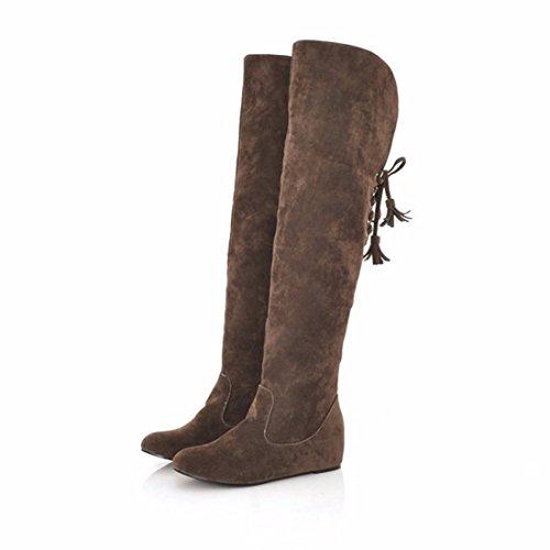 Rodilla redonda largo botas del canister y matorrales Brown