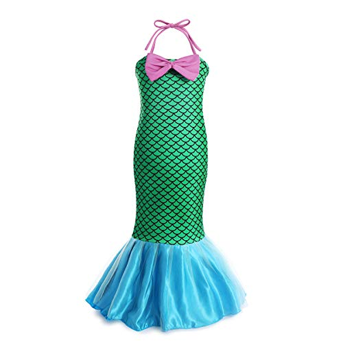 Little Mermaid Dresses for Girls Cosplay Costumes Ariel Princess Birthday Party Fancy Sleeveless Dress Up for Kids Wedding Holiday 9-10 Years Green
