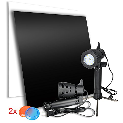 Emart Product Photography Acrylic Reflective Display Board with Table Top Lighting Kit, 12 x 12 inch White & Black Photo Shooting Background, Portable Continuous Light 2 x 12 LED Lamp