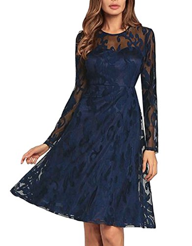 XQS Women A line Wedding Elegant Lace Dress Skater Long-Sleeved Rockabilly Dresses 1 L