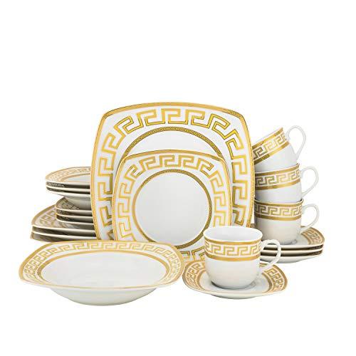 20-pc Bone China Porcelain Dinnerware Set w/Golden Rims, Super White Elegant Dinner Set with Gilding, Dinner Plates…