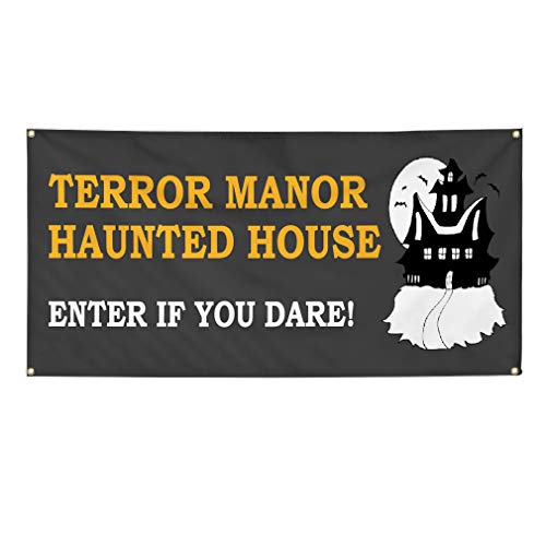 Vinyl Banner Sign Halloween Terror Manor Haunted House Marketing Advertising Grey - 44inx110in (Multiple Sizes Available), 8 Grommets, One Banner ()