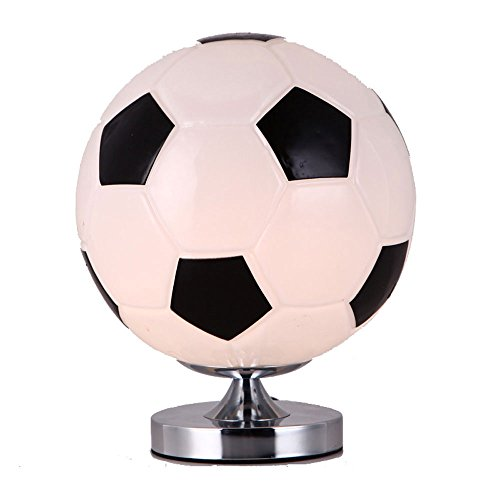 CGJDZMD Modern Minimalist Iron Children's Table Lamp Creative Glass Desk Lamp Bedroom Living Room Bedside Decoration Desktop Night Light Gift Table Light (Color : Soccer table lamp)