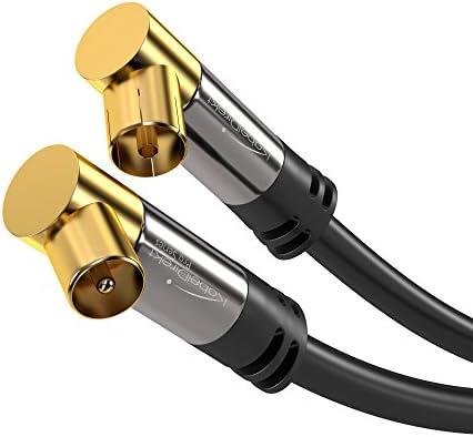 KabelDirekt – 1m Cable Coaxial Antena en Ángulo 90° (Clase A, Soporta DVB-T, DVB-S, DVB-C, DVB-S2 y HDTV, para TV y Radio), Pro Series